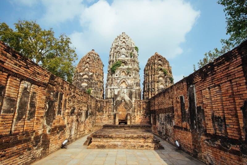 古庙美好的风景在sukhothai-historypark, Sukhothai,泰国的 图库摄影