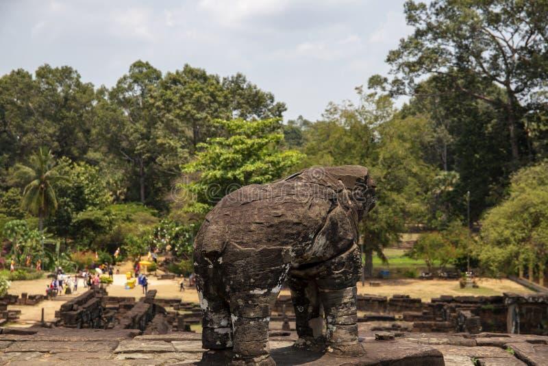 古庙Roluos寺庙的石头纪念碑,柬埔寨 在Bacong寺庙顶部的大象雕象 免版税库存照片