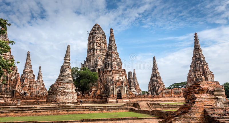 古庙wat Ayuthaya省(阿尤特拉利夫雷斯历史公园)亚洲泰国Chaiwatthanaram  免版税库存照片