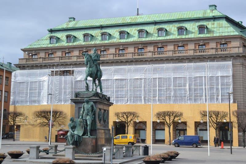 古斯塔夫阿道夫的广场在斯德哥尔摩。 免版税库存照片