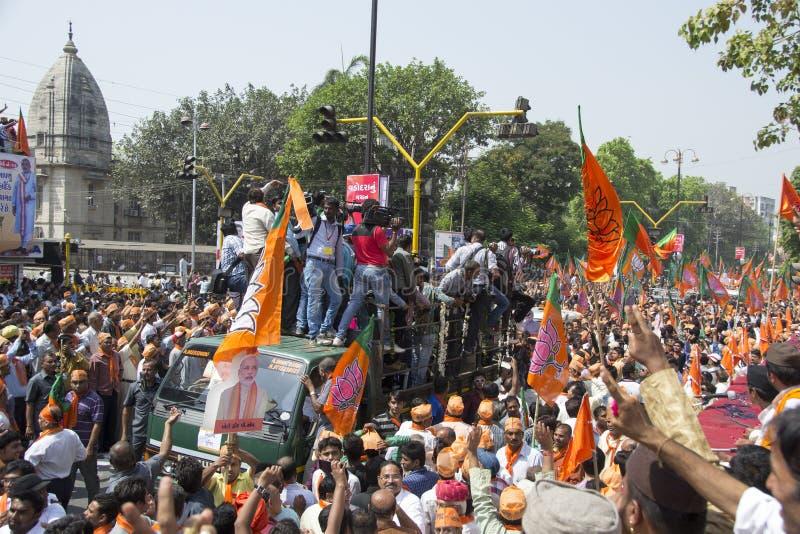 古杰雷特首席部长和BJP头等部长级候选人Narendra Modi 免版税库存照片