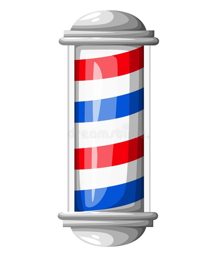 古板的与理发师标志的葡萄酒玻璃理发店杆 导航例证网站页和流动app设计elem 库存例证