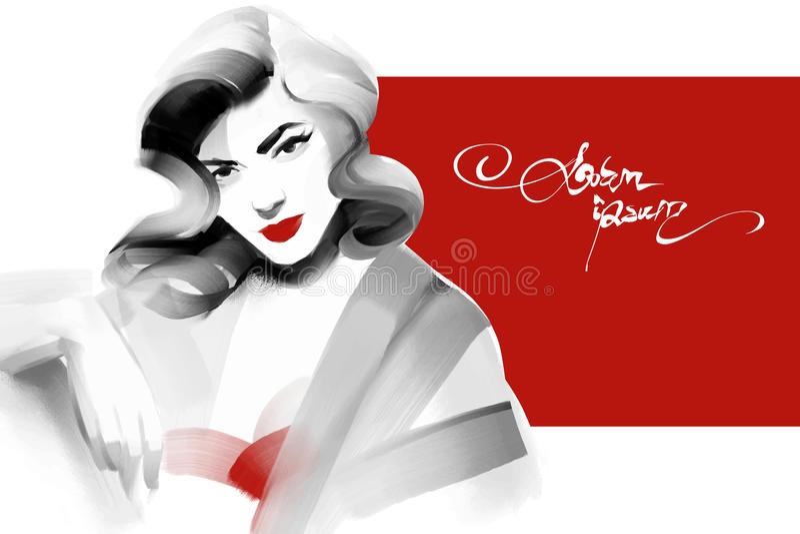 古板的妇女画象红色的 Pin样式 库存例证