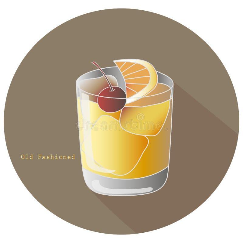 古板的酒精威士忌酒或白兰地酒鸡尾酒的手拉的传染媒介例证与柑橘橙色切片和樱桃的 库存例证