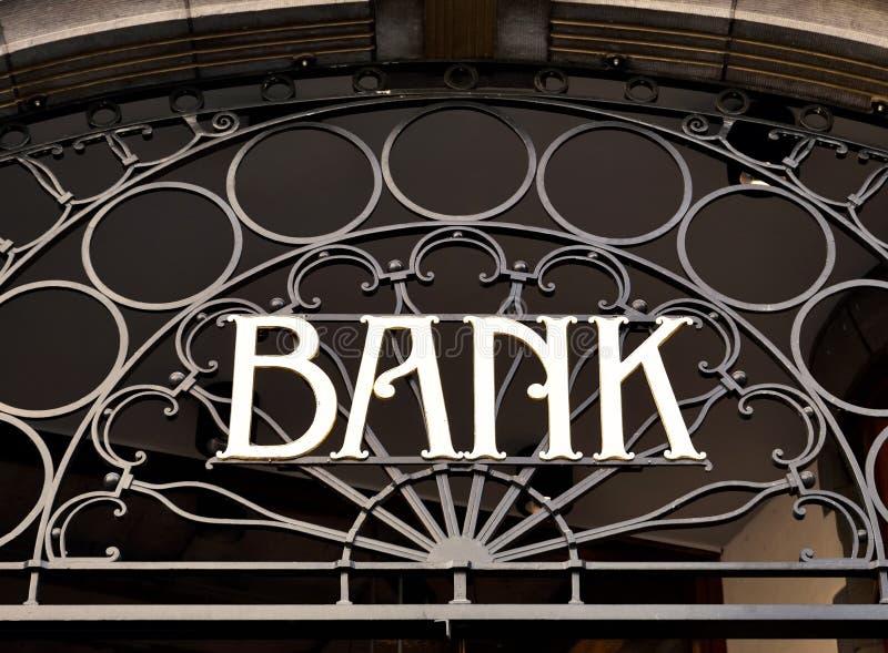 古板的银行标志 免版税库存图片