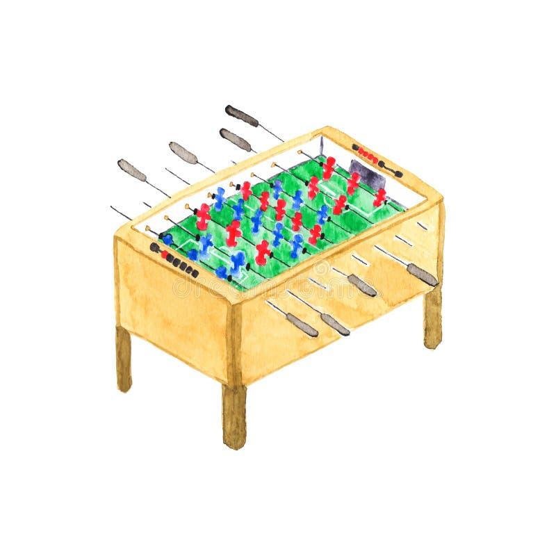 古板的foosball或喷射器桌 水彩 库存例证