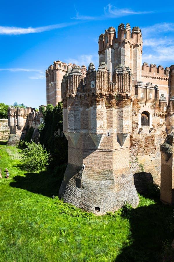 古柯城堡,塞戈维亚(卡斯蒂利亚y利昂),西班牙 免版税库存图片