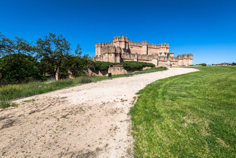 古柯城堡(卡斯蒂略de Coca)是被修建的设防 免版税库存照片
