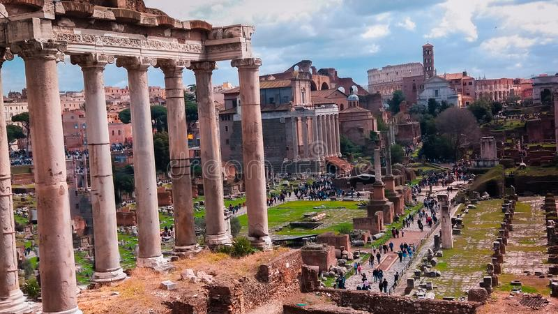 古罗马广场的看法 免版税库存照片