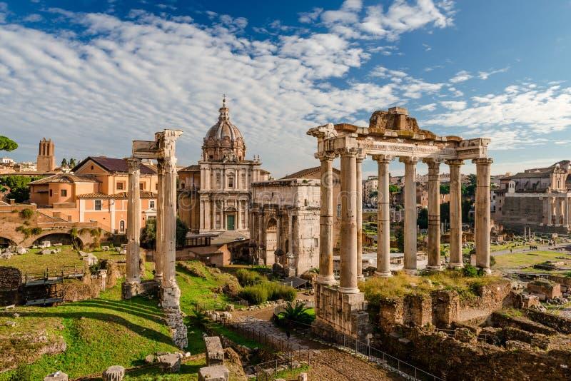 古罗马广场,看见从卡比托利欧山 免版税图库摄影
