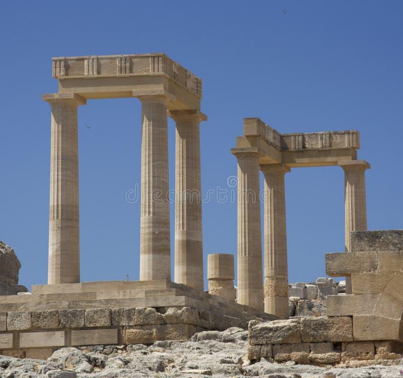 古老上城在罗得岛。Lindos市。希腊 图库摄影