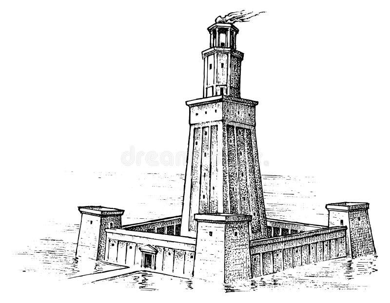 古老世界的七奇迹 亚历山大灯塔 希腊人的巨大建筑 被刻记的手拉 向量例证