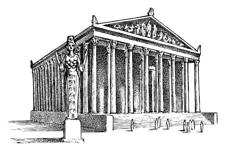 古老世界的七奇迹 在以弗所的亚底米神庙 希腊人的巨大建筑 ?? 库存例证