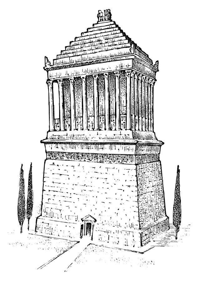 古老世界的七奇迹 摩索拉斯王陵墓希腊人的巨大建筑 被刻记的手拉 皇族释放例证