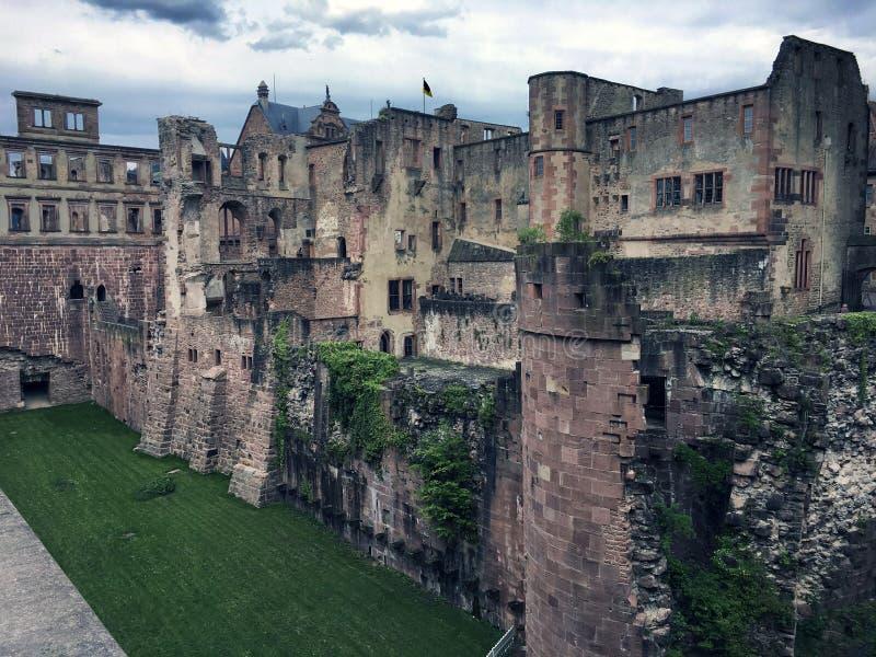 古老中世纪石城堡的废墟在海得尔堡 免版税库存图片