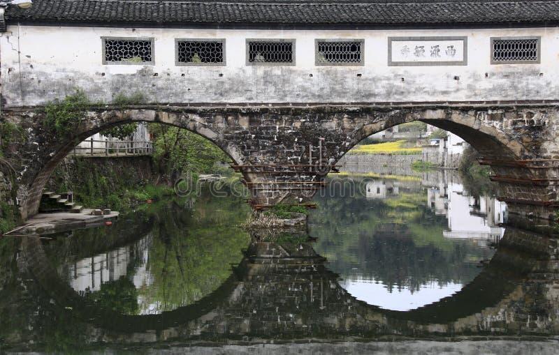 古老中国被遮盖的桥 库存图片