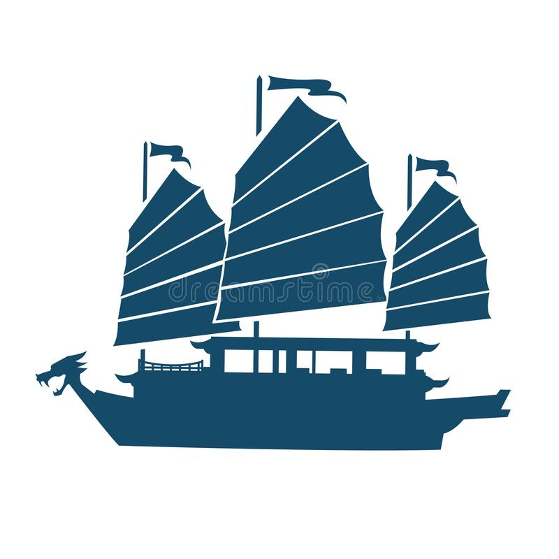 古老中国龙船 向量例证