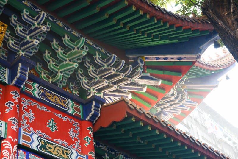 古老中国建筑学的木结构 免版税库存图片