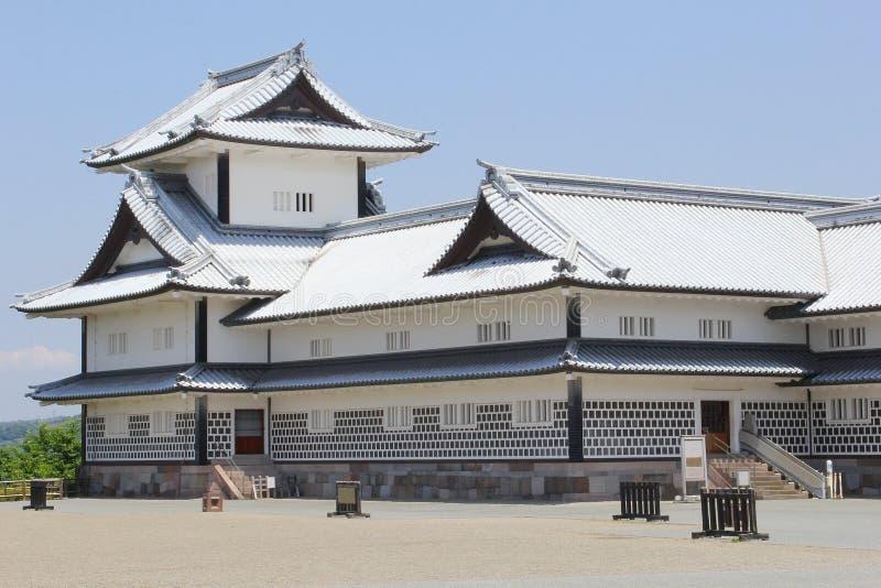 古老今池城堡白色屋顶正方形,日本 免版税库存照片