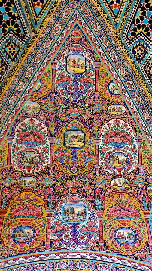 古老伊朗样式瓦片绘画 免版税库存图片