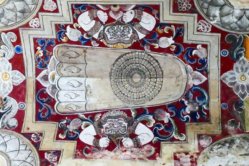 古老佛教在Kyauk Taw Gyi寺庙的阿尤特拉利夫雷斯样式天花板壁画 免版税图库摄影