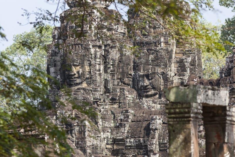 古老佛教废墟细节  免版税图库摄影