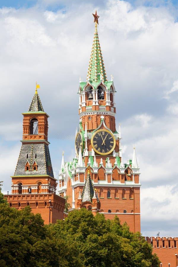 古老克里姆林宫塔,莫斯科,俄罗斯 免版税图库摄影