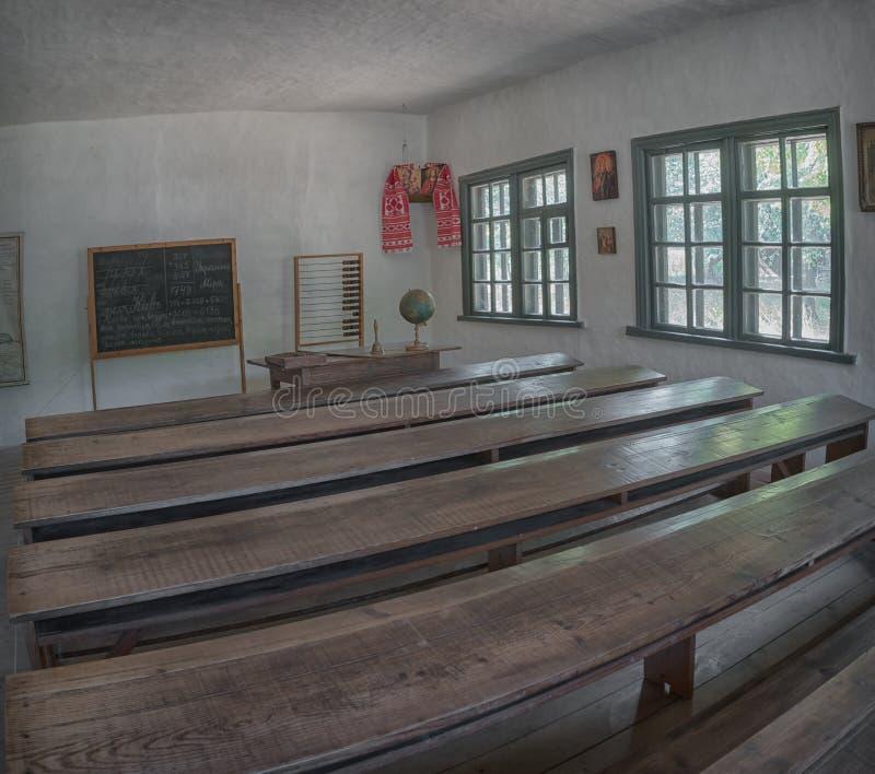 古老农村乌克兰学校 内部看法 库存图片
