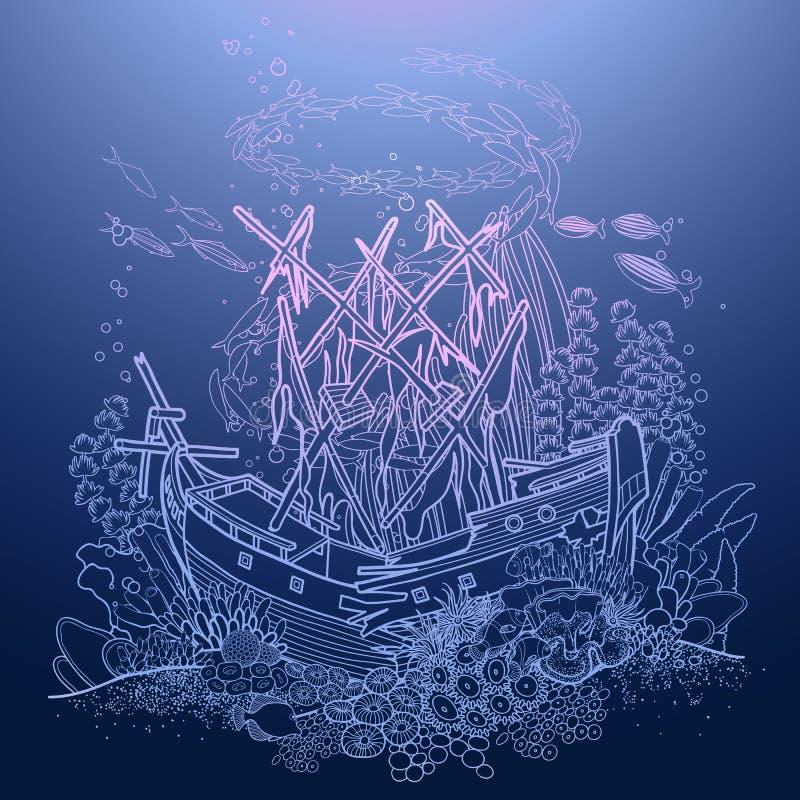 古老凹下去的船和珊瑚礁 向量例证