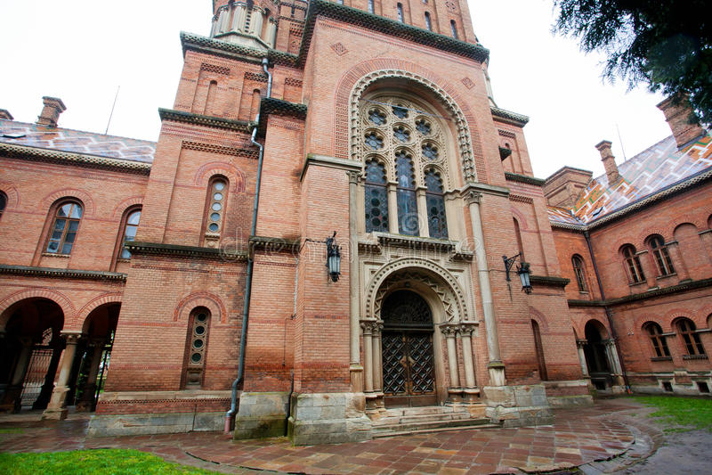 古老切尔诺夫策大学砖墙  库存图片