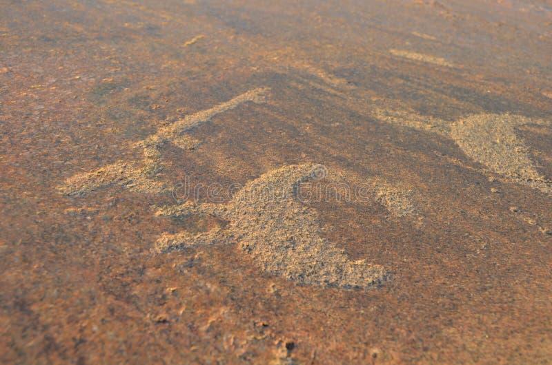 古老刻在岩石上的文字在Onega湖石头雕刻了在卡累利阿 库存图片