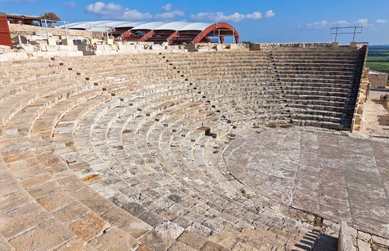 古老剧院在Kourion,塞浦路斯 库存照片