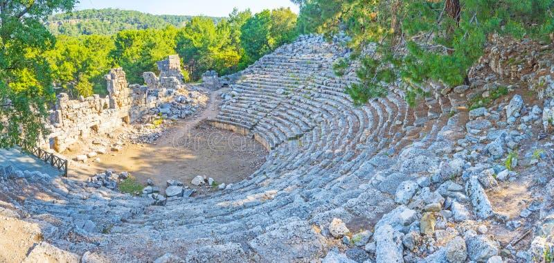 古老剧院的全景在Phaselis, Tekirova,土耳其 库存图片