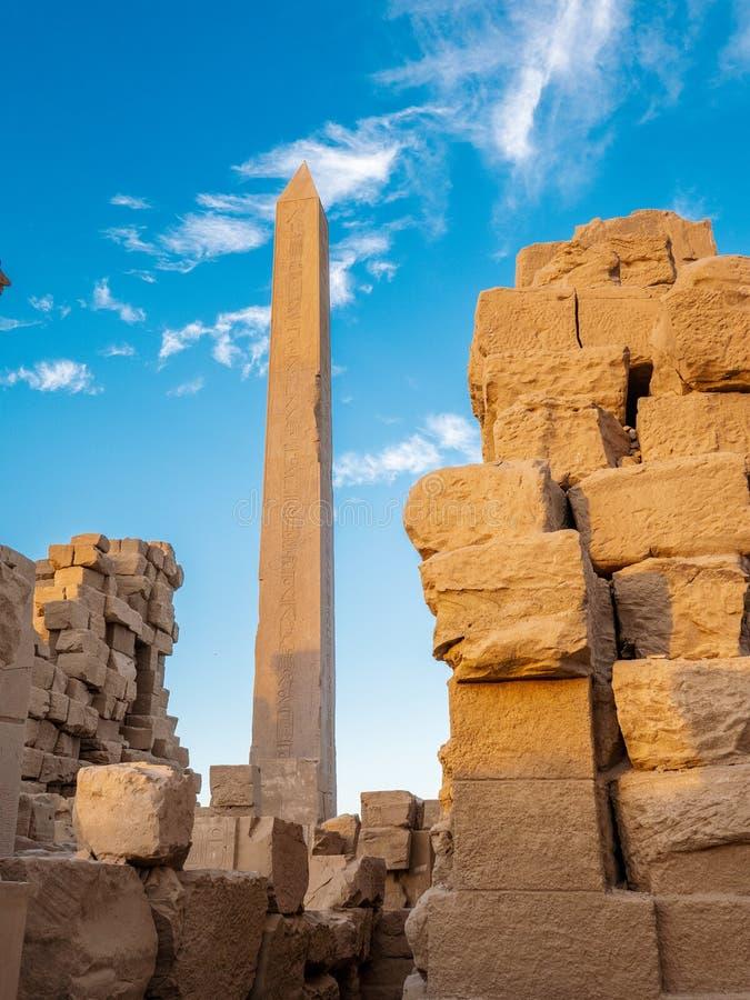 古老卡尔纳克废墟卡尔纳克寺庙复合体的在埃及 图库摄影