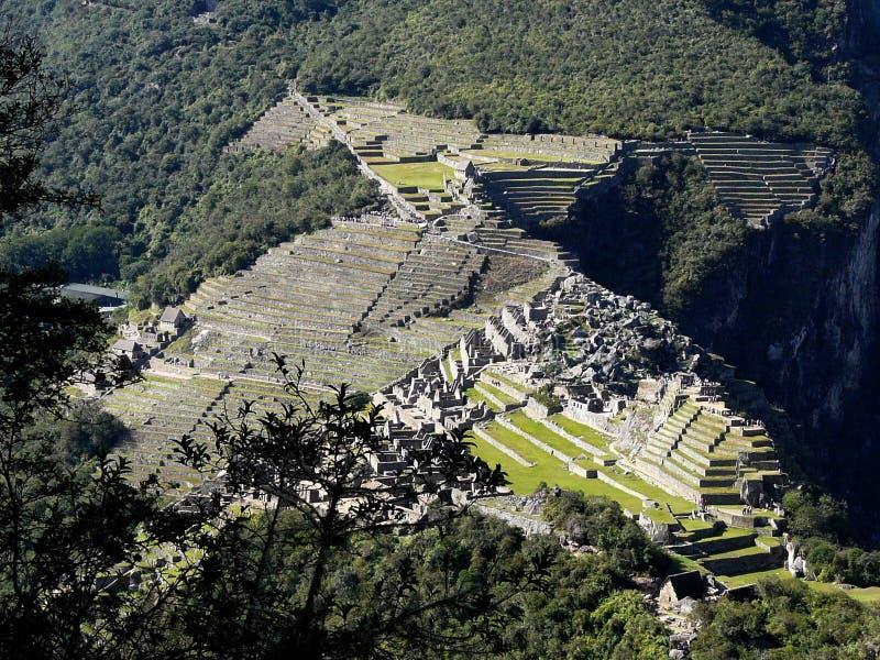 古老印加人城市马丘比丘,秘鲁的顶视图 免版税库存照片