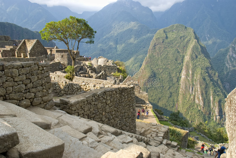 古老印加人machupicchu废墟 图库摄影