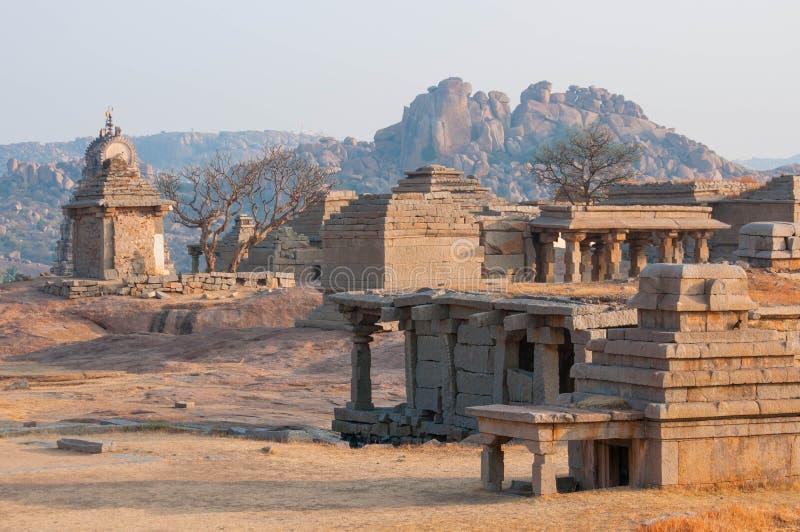 古老印地安寺庙,老堡垒废墟 库存照片