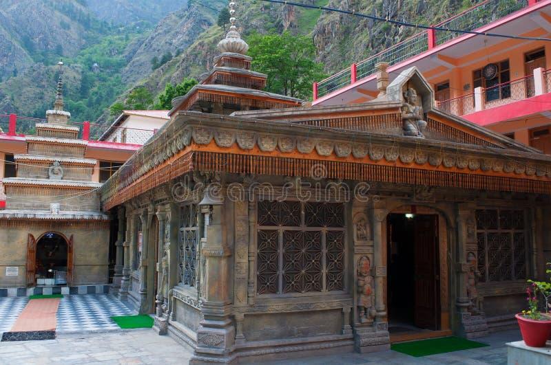 古老印度寺庙在Manikaran市 喜马偕尔邦,印度 免版税库存图片