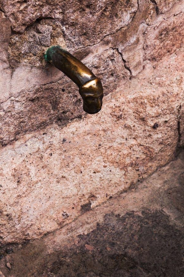 古老古铜色龙头 免版税库存图片