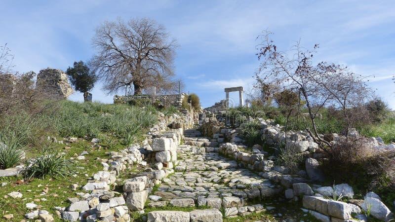 古老台阶废墟在Kaunos 免版税图库摄影