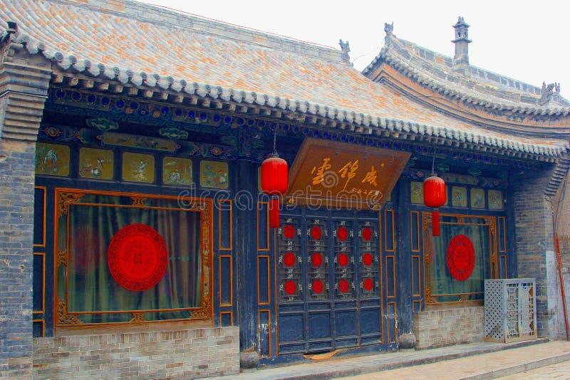 古老和土气建筑学在平遥,中国 免版税库存照片