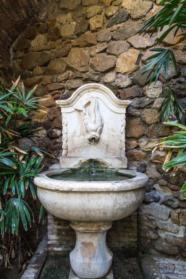 古老喷泉在马拉加 免版税库存图片