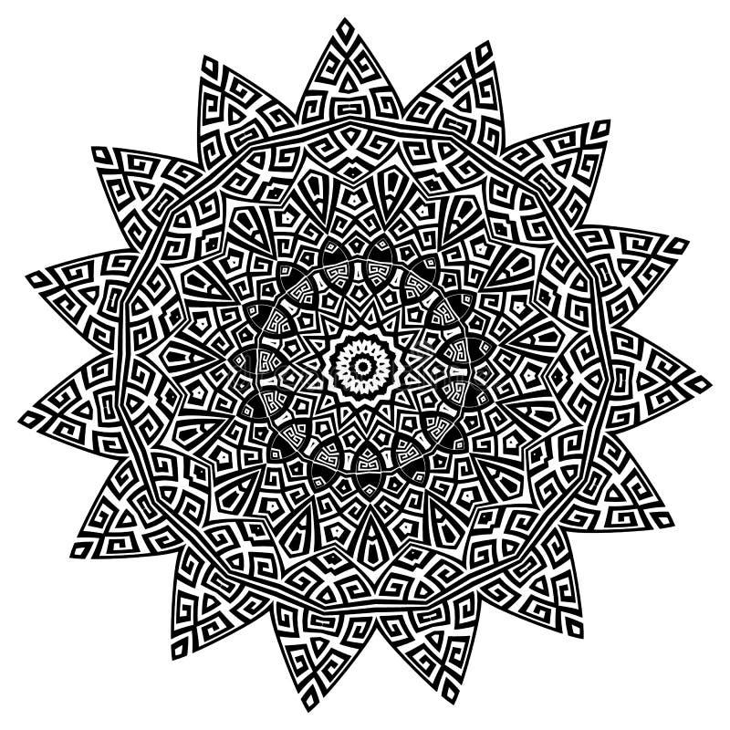古老圆的装饰品 传染媒介在白色背景的被隔绝的黑河曲样式 与希腊关键装饰品的之字形坛场 皇族释放例证