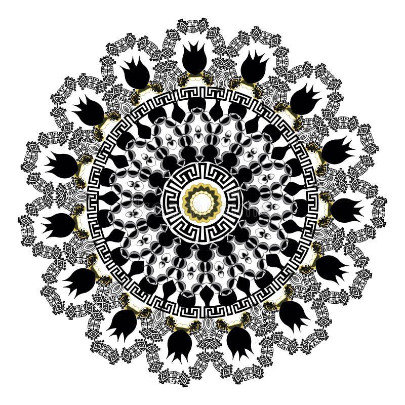 古老圆的装饰品 传染媒介在白色背景的被隔绝的黑河曲样式 与希腊关键装饰品的古色古香的坛场 皇族释放例证
