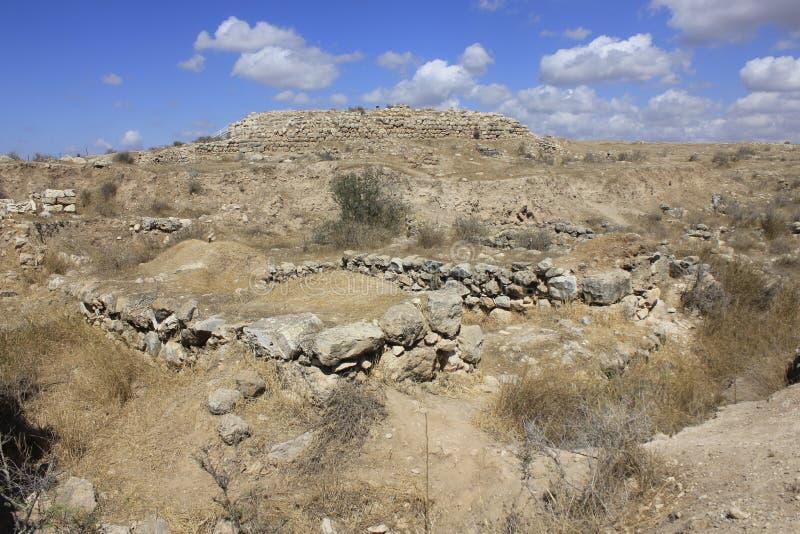 古老圣经的市Lachish,今天Tel Lachish废墟  库存照片