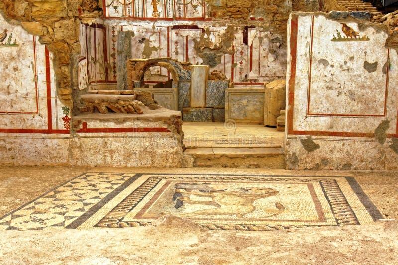 古老地板和墙壁装饰 库存图片