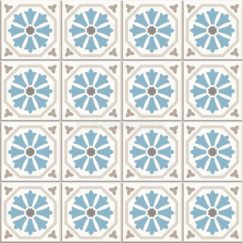 古老地板陶瓷砖 维多利亚女王时代的英国地板盖瓦设计,无缝的传染媒介样式 皇族释放例证