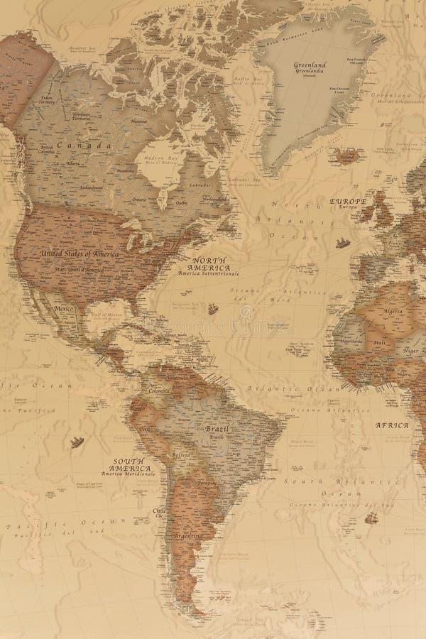 古老地理地图美洲 免版税库存图片