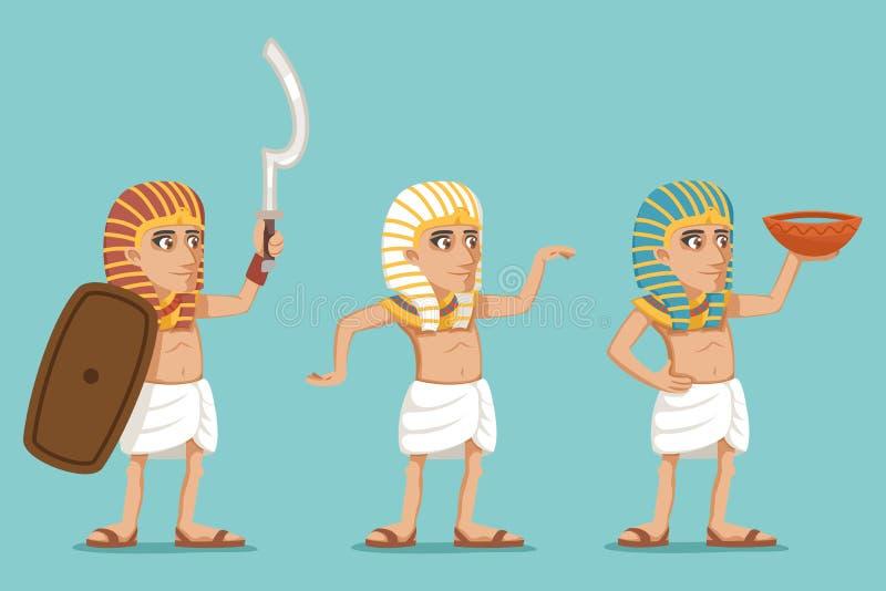 古老埃及人民传统穿戴字符战士水卖主象集合动画片设计传染媒介例证 向量例证