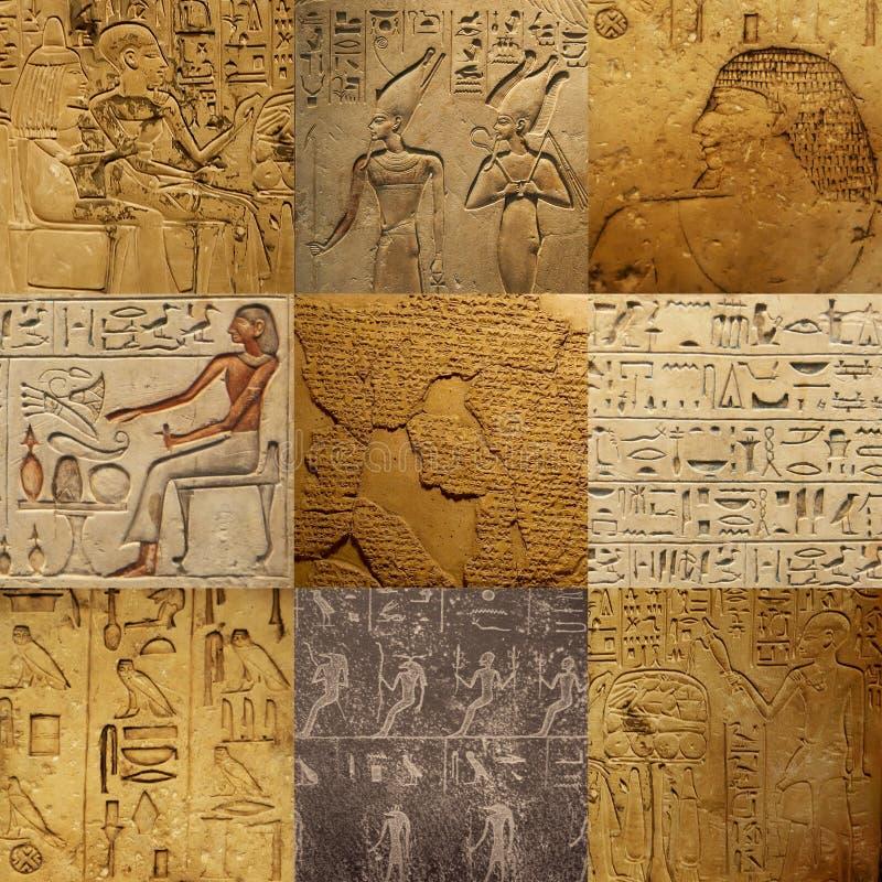 古老埃及人集合文字 免版税库存图片